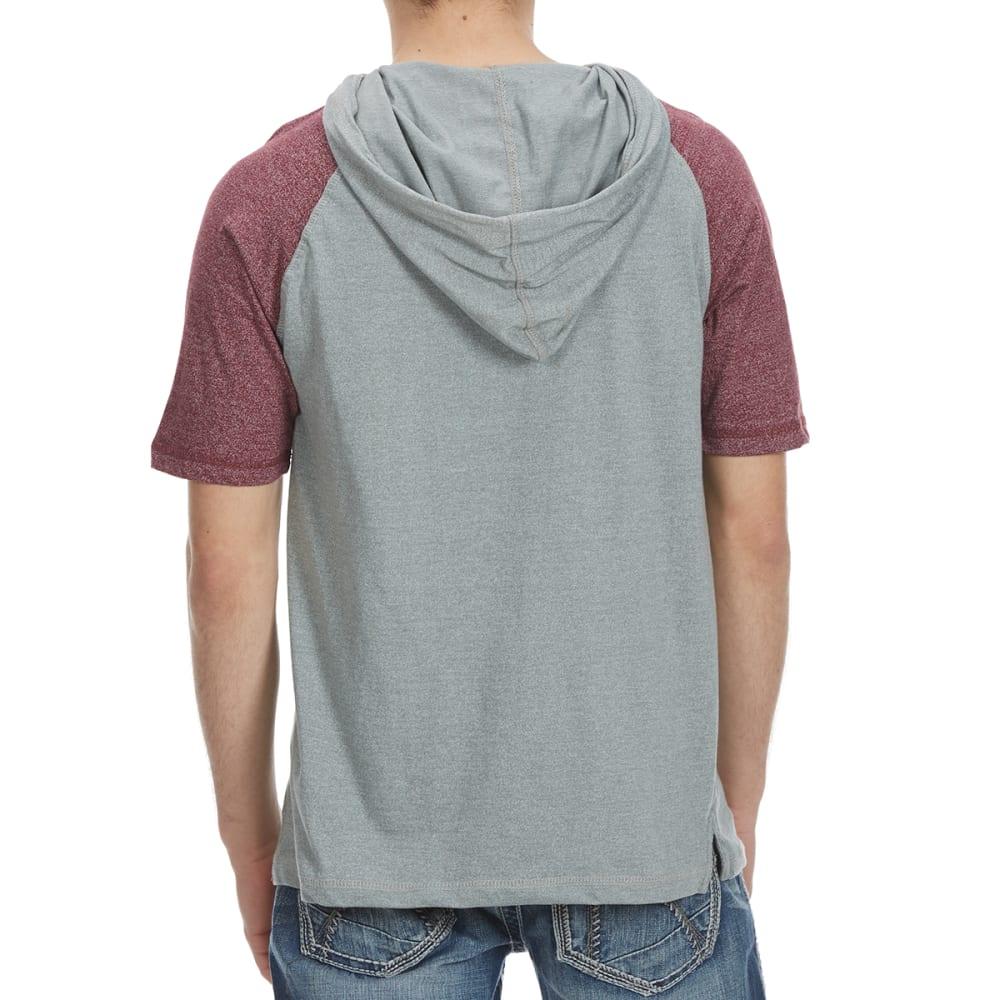 ALPHA BETA Guys' Hooded Baseball Knit Short-Sleeve Shirt - GHOST GRY/BURG