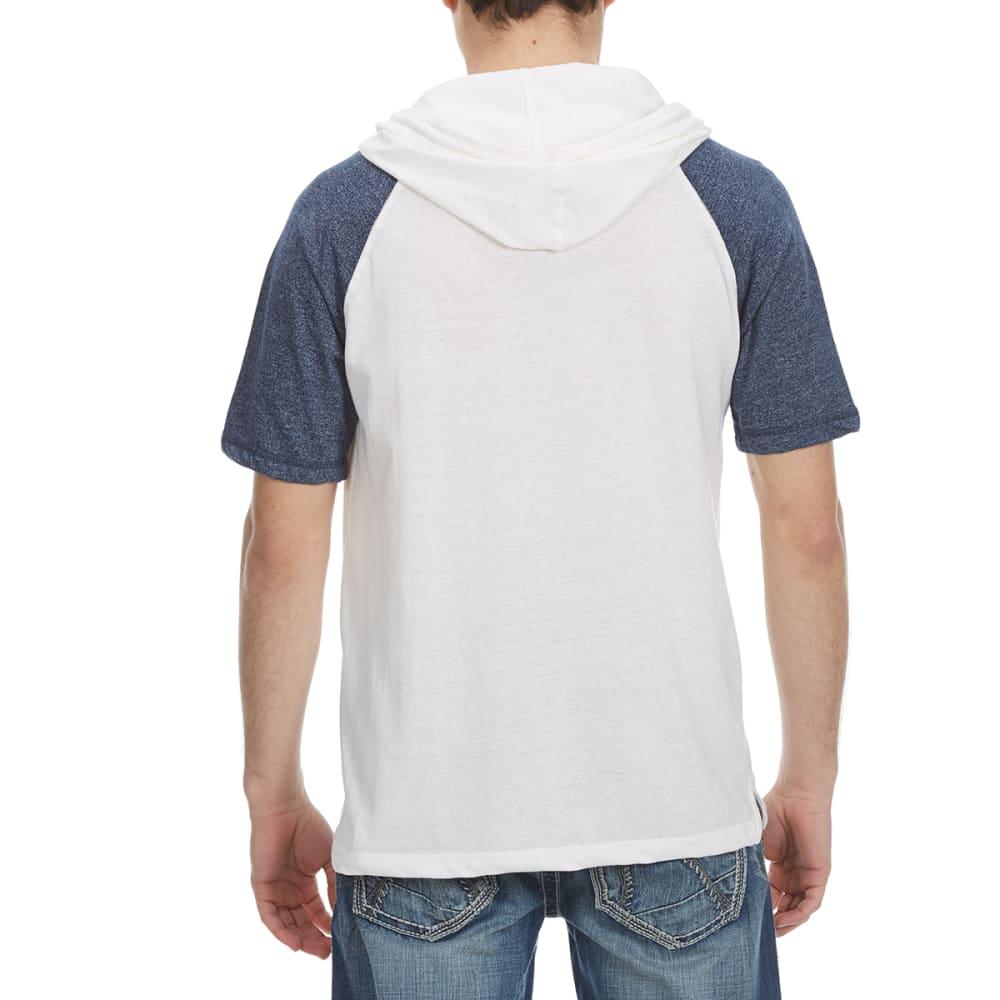 ALPHA BETA Guys' Hooded Baseball Knit Short-Sleeve Shirt - NATURAL/NAVY