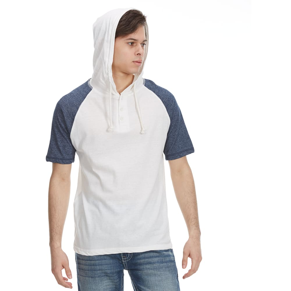 ALPHA BETA Guys' Hooded Baseball Knit Short-Sleeve Shirt - NATURAL/NAVY
