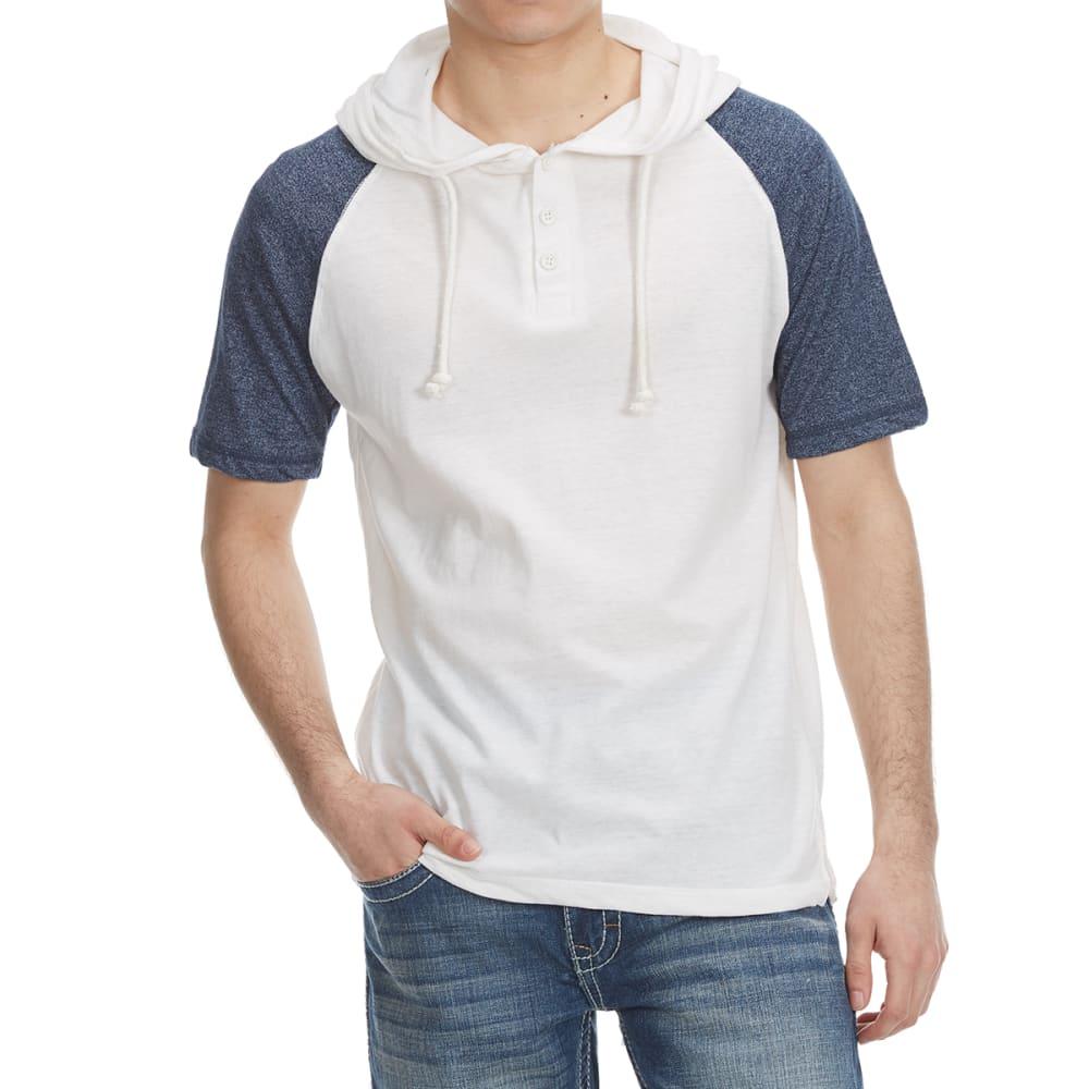 Alpha Beta Guys' Hooded Baseball Knit Short-Sleeve Shirt - White, S