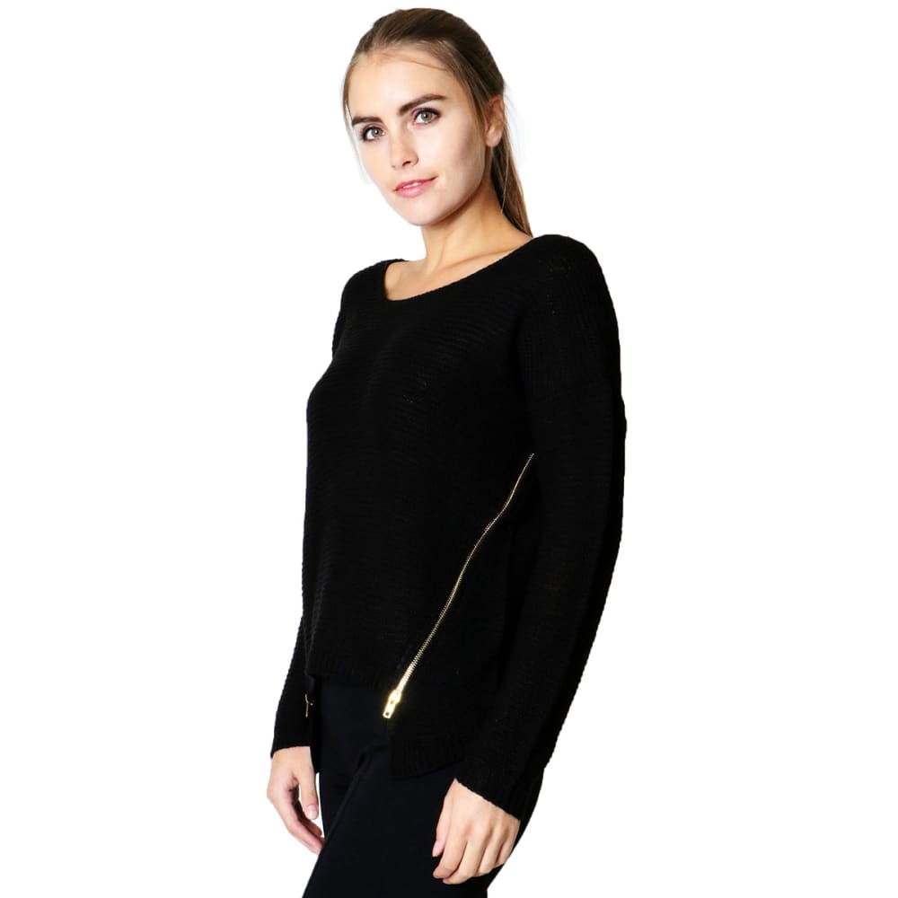 ZENANA Juniors' Zipper Detail Sweater - BLACK