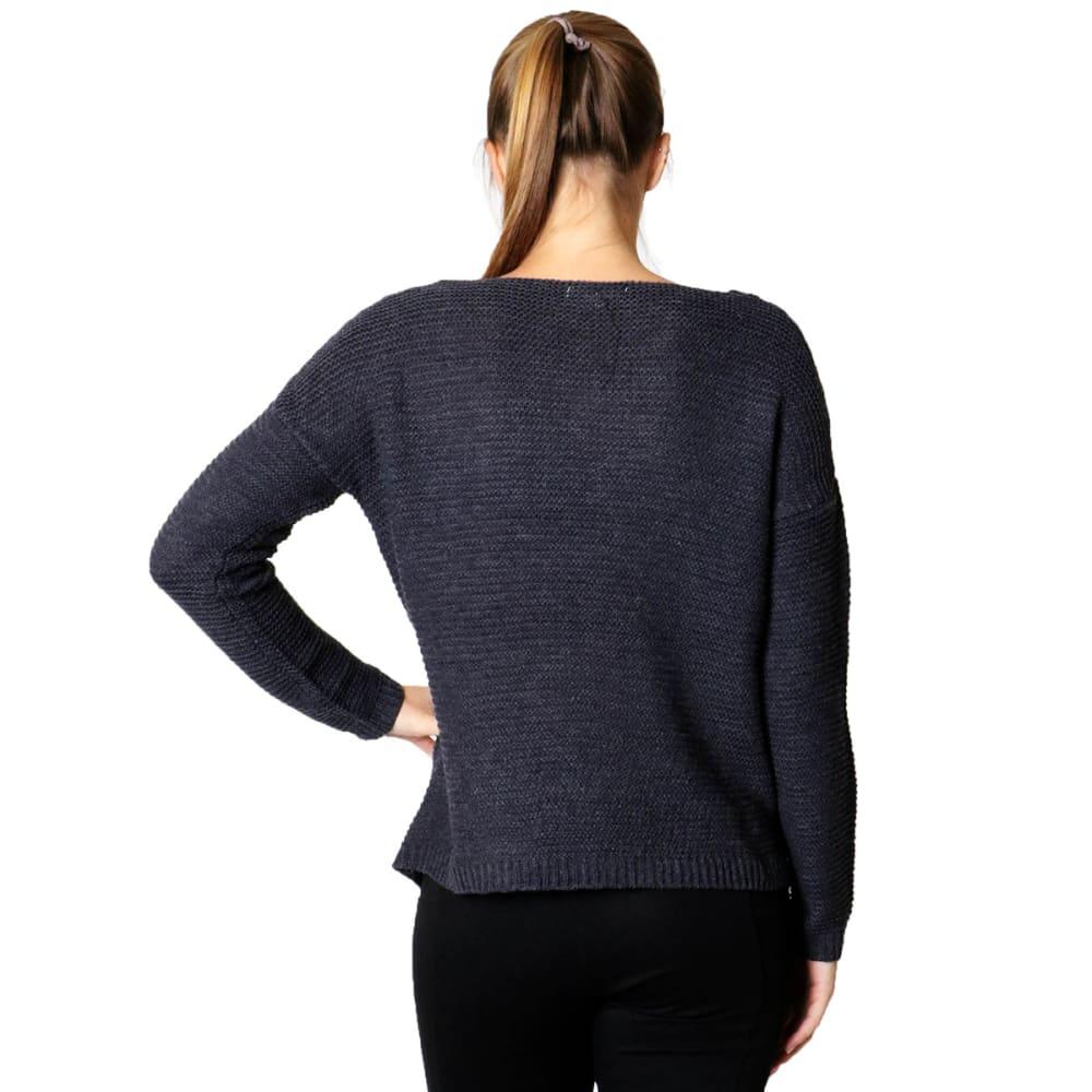 ZENANA Juniors' Zipper Detail Sweater - CHARCOAL