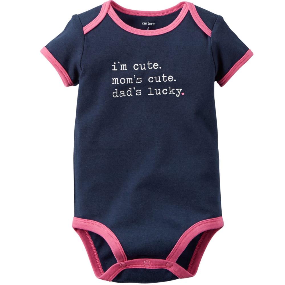 "CARTER'S Infant Girls' Short-Sleeve ""I'm Cute, Mom's Cute"" Slogan Bodysuit - NAVY"
