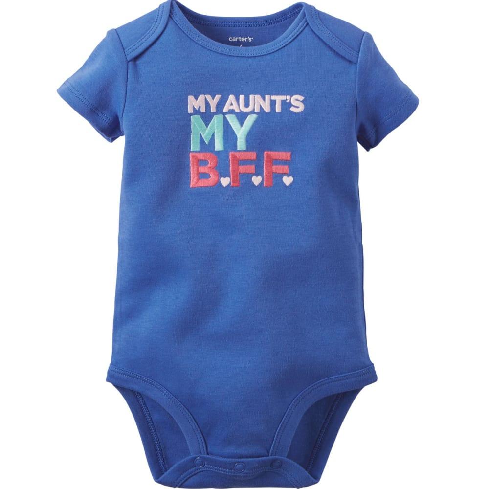 "CARTER'S Infant Girls' Short-Sleeve ""My Aunt's My BFF"" Slogan Bodysuit - BRIGHT BLUE"