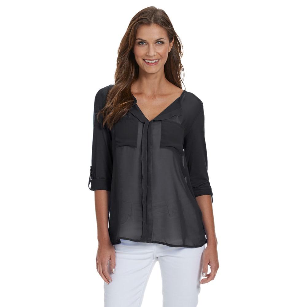 FEMME Women's ¾ Sleeve Pocket Front Blouse - BLACK