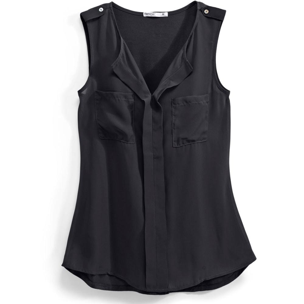 TRESICS Women's Femme Pocket Front Solid Mix Media Tank Top - BLACK