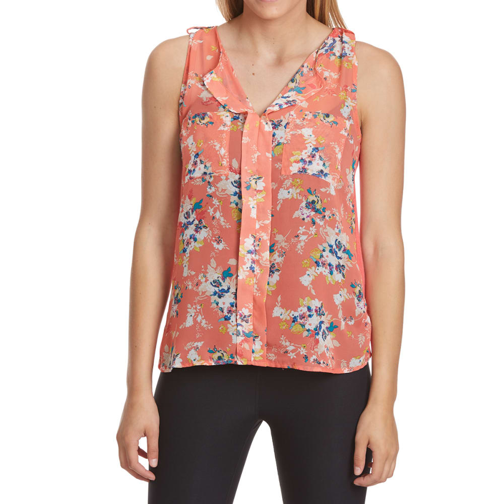 FEMME Women's Pocket Front Print Mix Media Tank - 71864 CORAL/RED FLRL