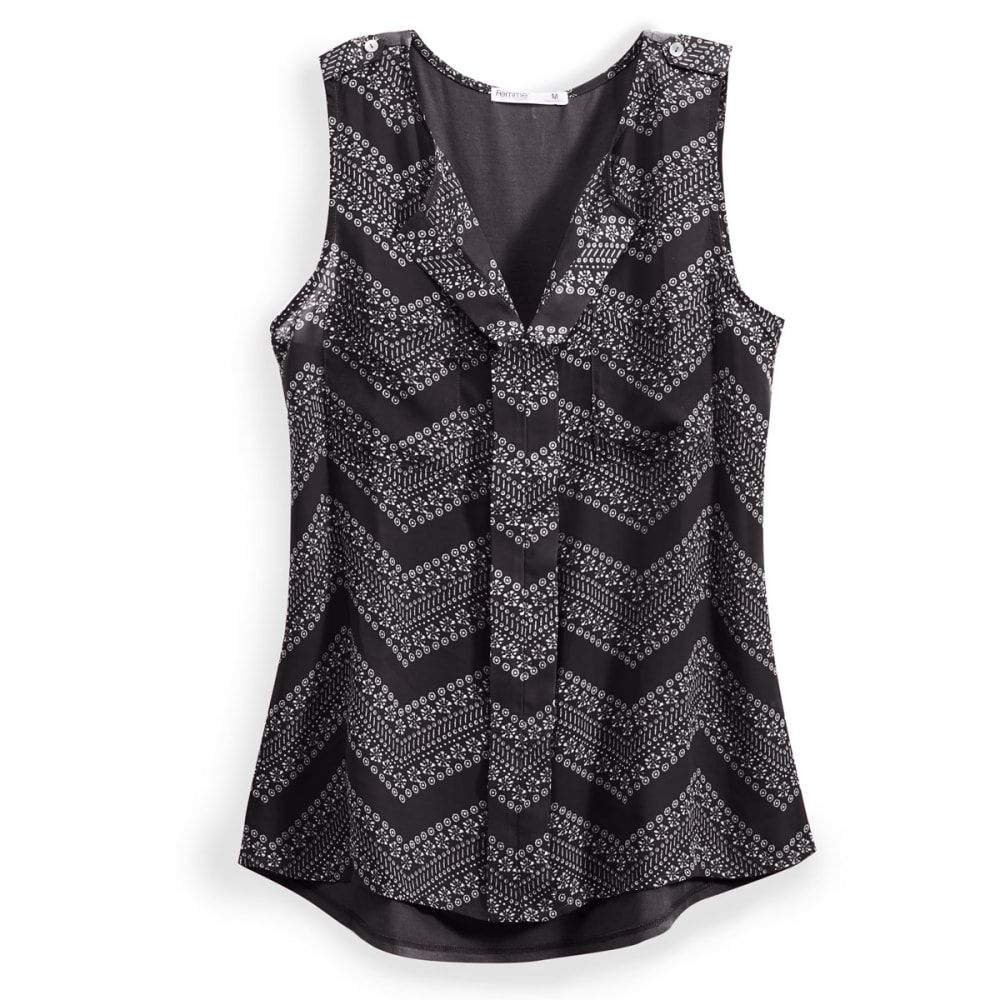 TRESICS Women's Femme Mix Media Tank with Layered Front - F-1396 BLK/WHT CHEV