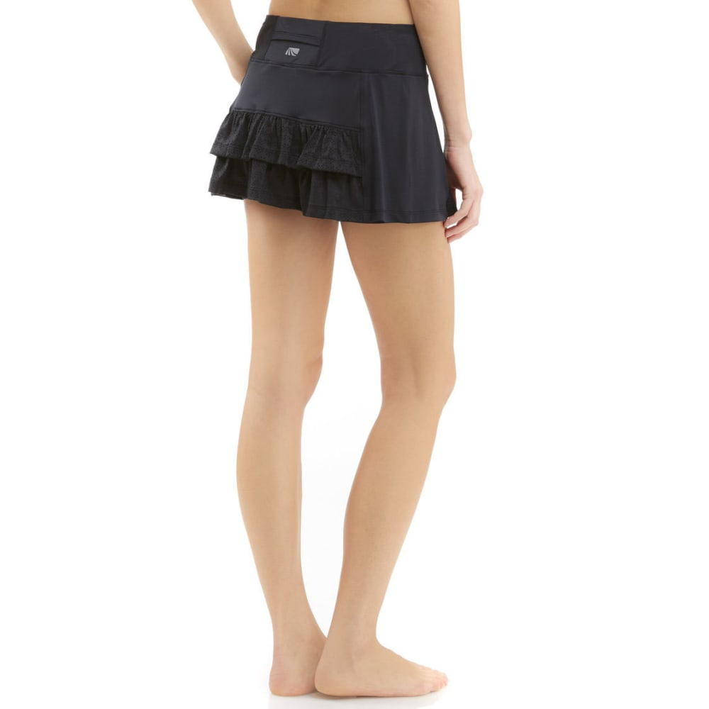 MARIKA Women's Knit Perforated Ruffle Skort - BLACK-001