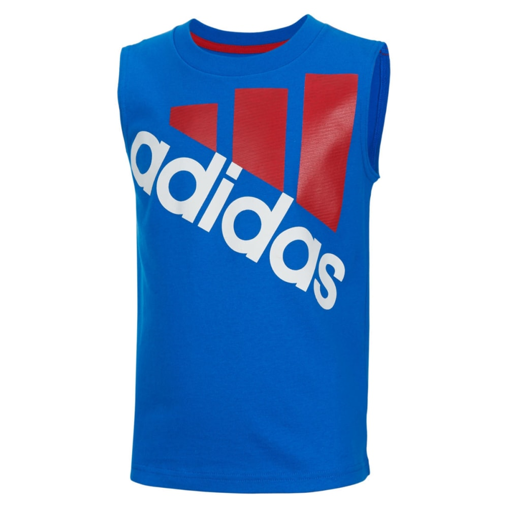 Adidas Boys' Sleeveless Logo Tee - Blue, 5