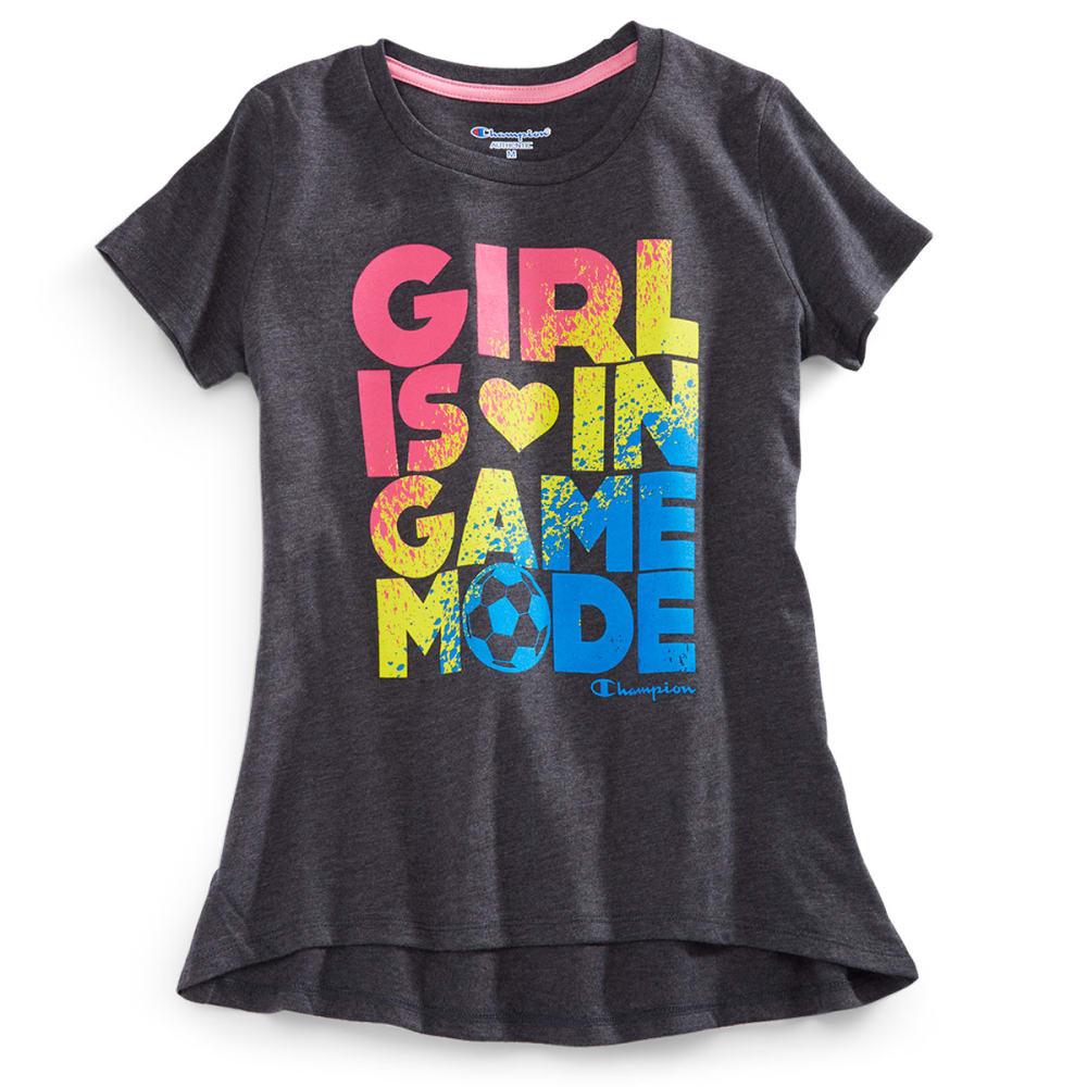 CHAMPION Girls' Game Mode Short-Sleeve Tee - GRANITE HTHR