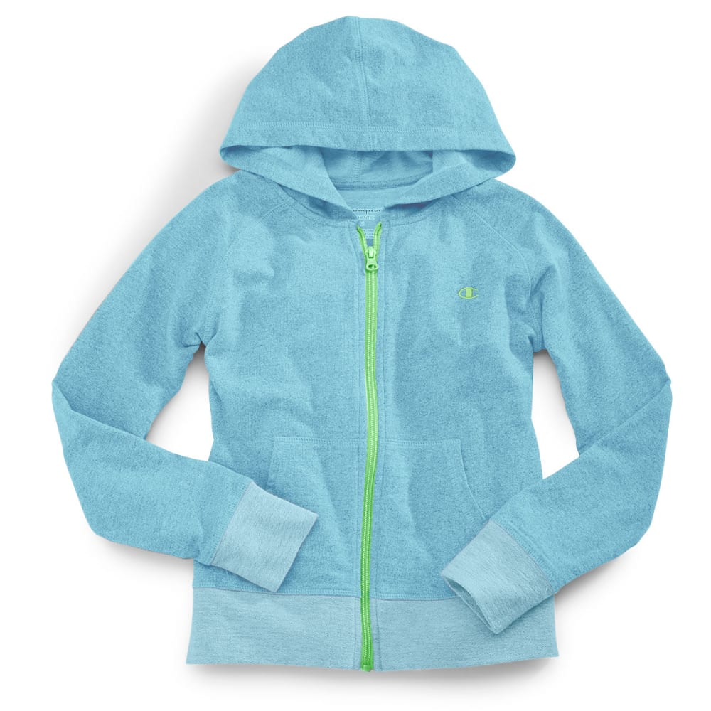 CHAMPION Girls' French Terry Zip Up Hoodie - CHROMA BLUE