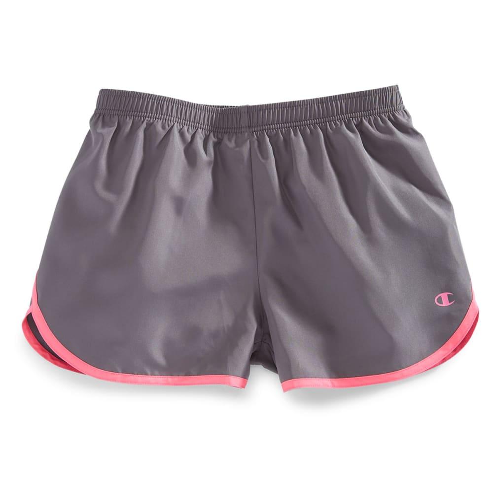 CHAMPION Girls' Contrast Binding Shorts - GRANITE/PINK