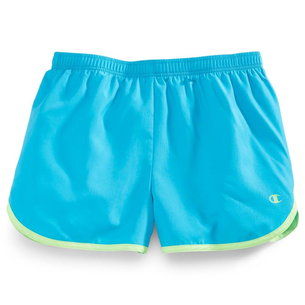 CHAMPION Girls' Contrast Binding Shorts - CHROMA BLUE/GREEN