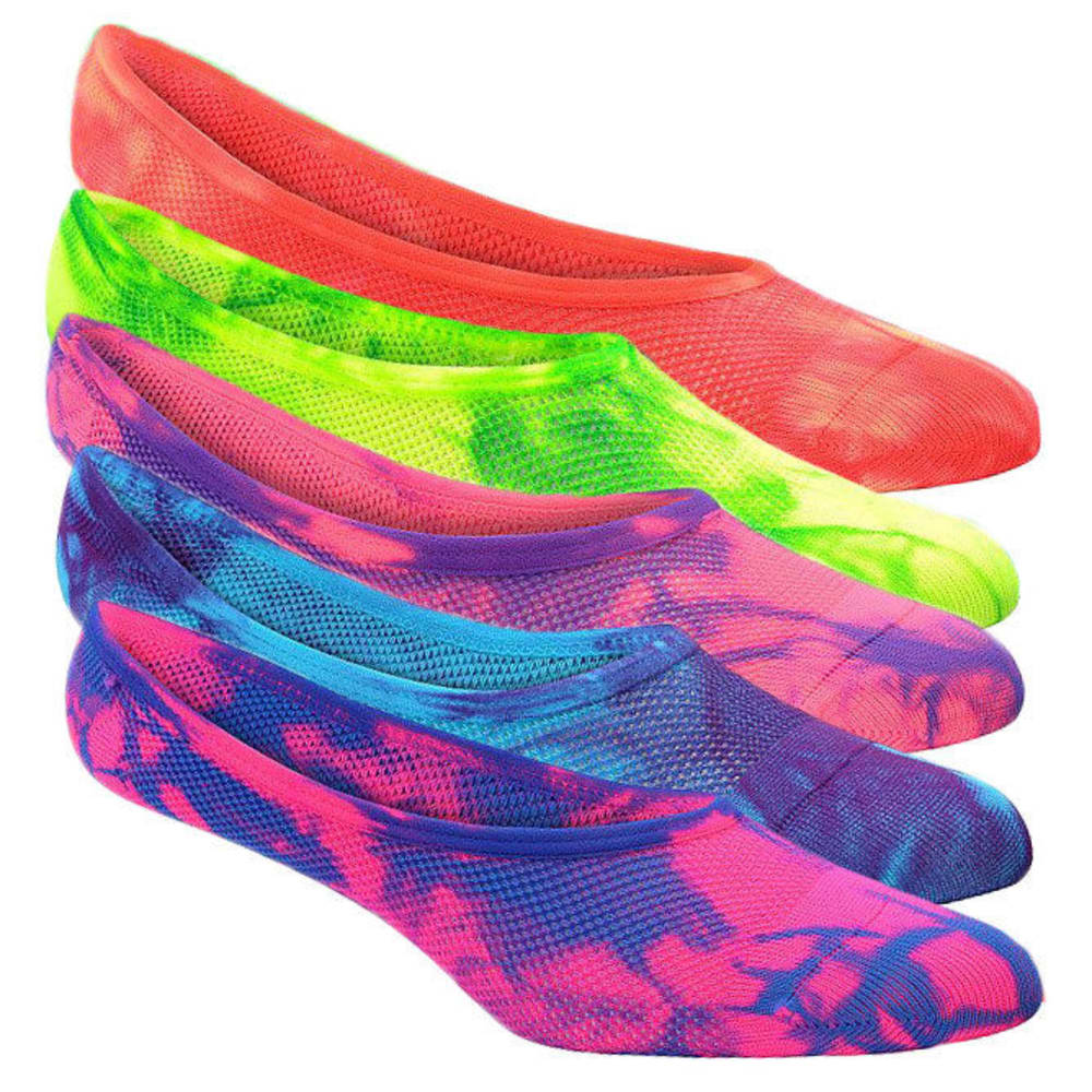 SOF SOLE Women's Tie Dye Footie Socks, 6-Pack - ASST TIE DYE