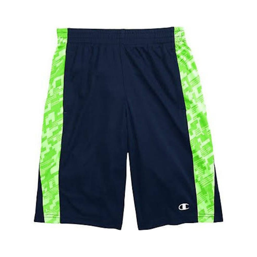 CHAMPION Boys' Box Out Shorts - NAVY/GREEN-NAVY