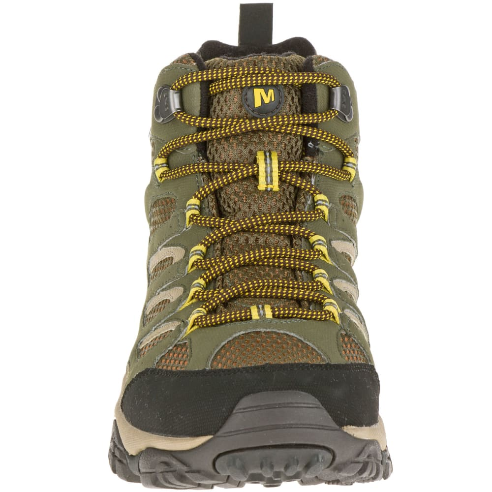 MERRELL Men's Moab Mid Waterproof Hiking Boots, Olive - OLIVE