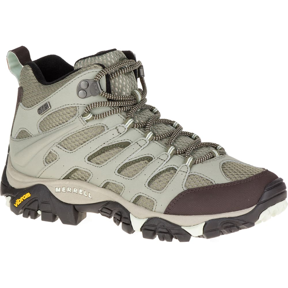 MERRELL Women's Moab Mid Waterproof Hiking Boots, Granite - GRANITE