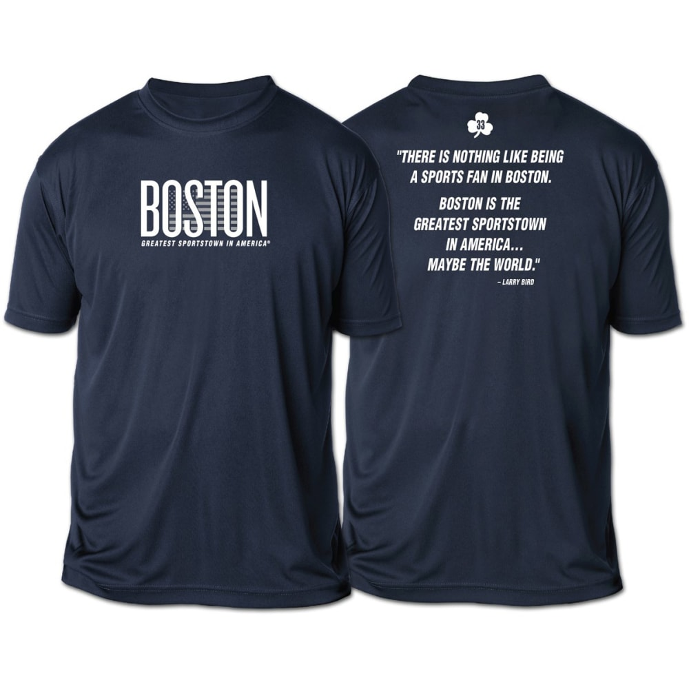 LIFE IS SPORTS Men's Boston Flag Two-Sided Short Sleeve Tee - NAVY