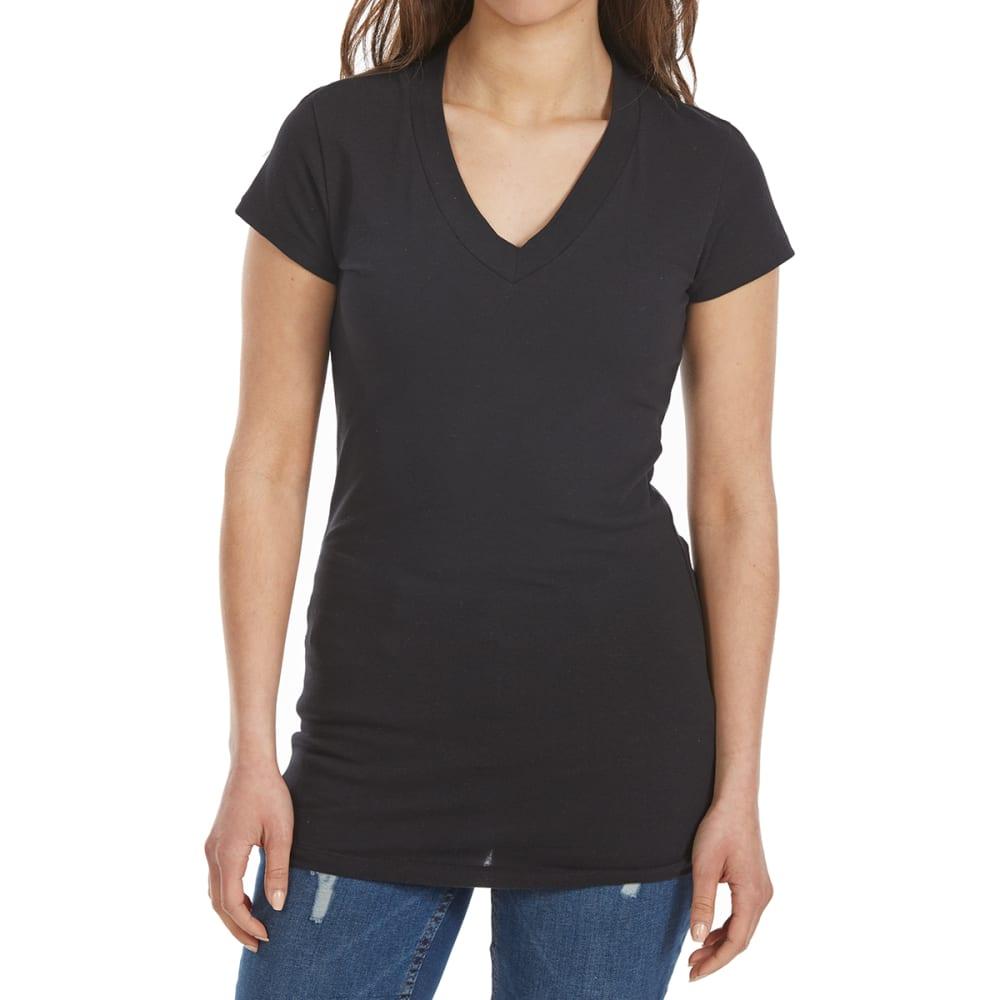 TRESICS Women's Femme Basic V-Neck Tee - BLACK