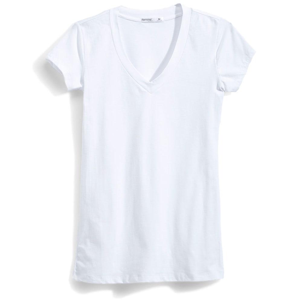 TRESICS Women's Femme Basic V-Neck Tee - WHITE