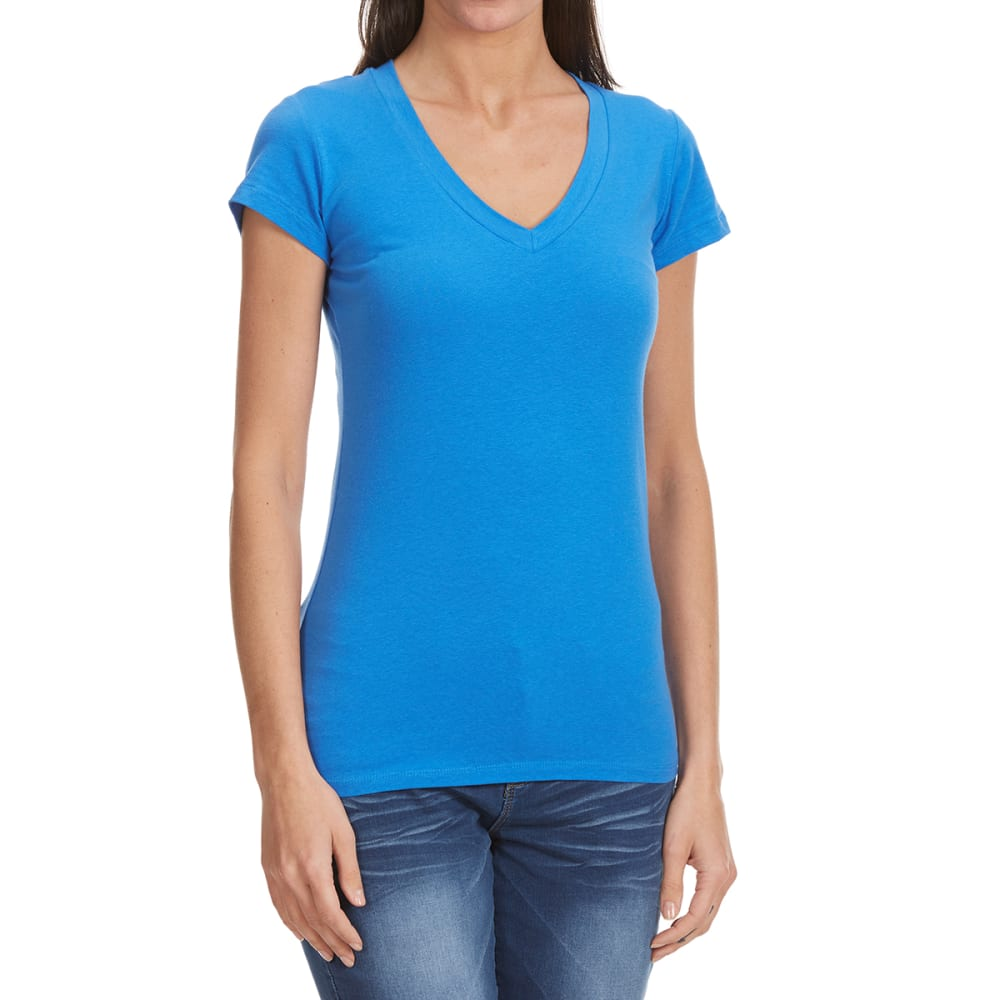 TRESICS Women's Femme Basic V-Neck Tee - DUSTY BLUE