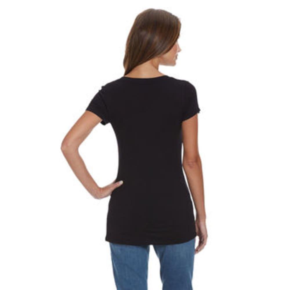 TRESICS FEMME Women's Scoop Neck Cap Sleeve Tee - BLACK