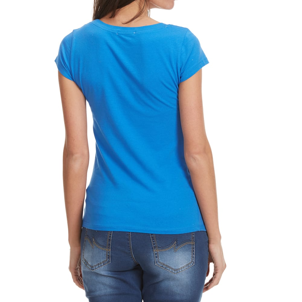 TRESICS FEMME Women's Scoop Neck Cap Sleeve Tee - DUSTY BLUE