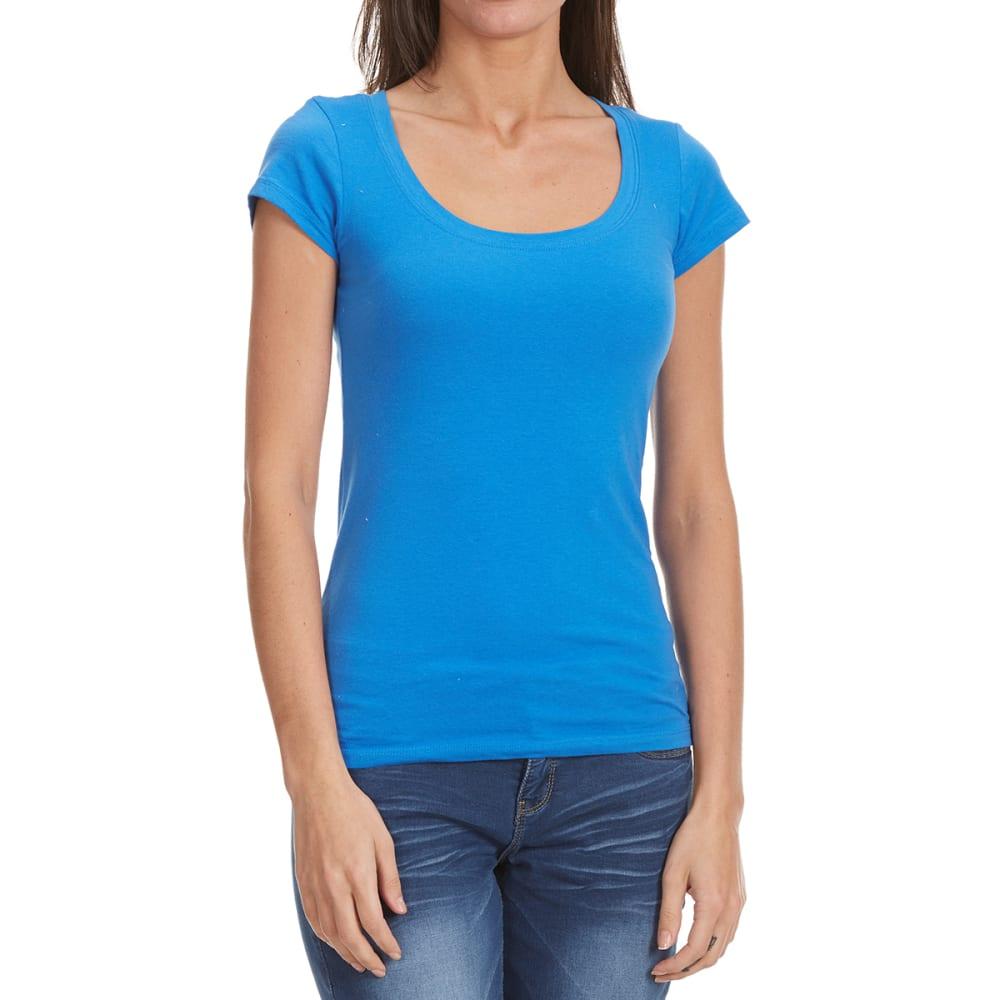 11020cc00 TRESICS FEMME Women's Scoop Neck Cap Sleeve Tee - DUSTY BLUE 3092