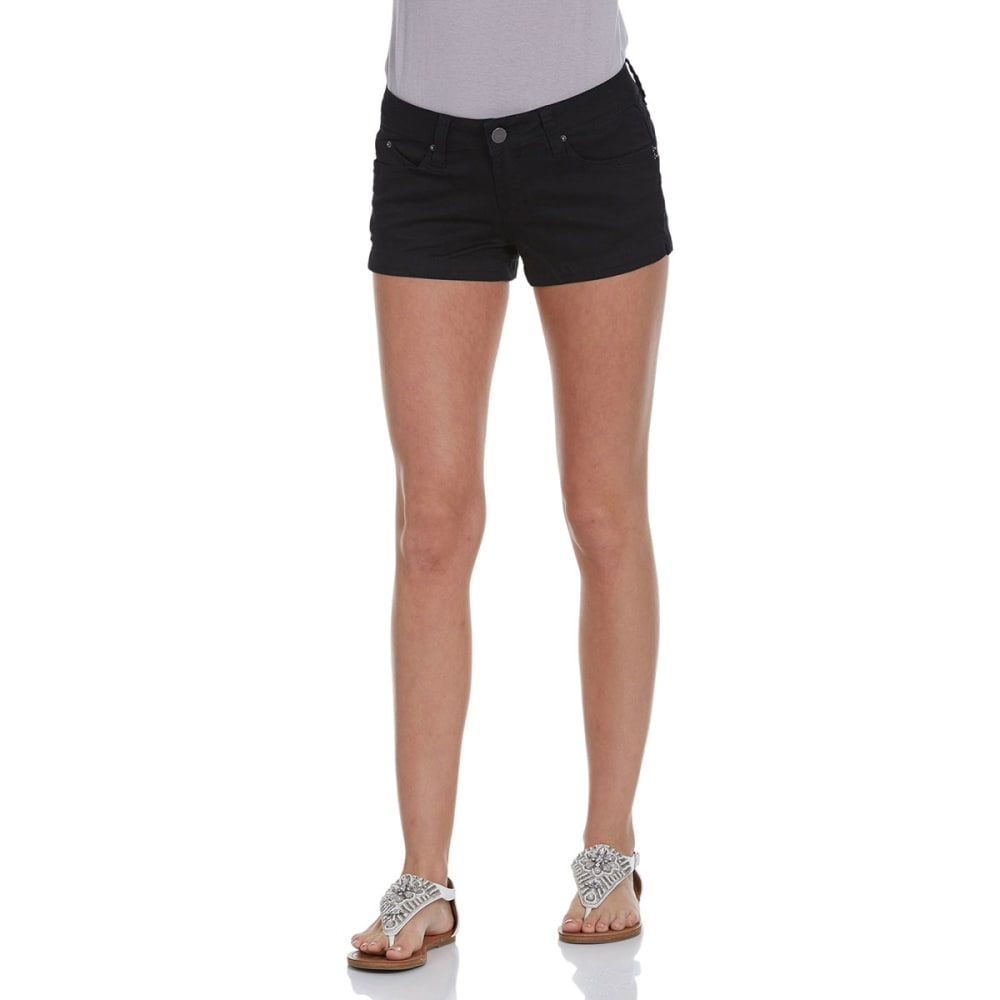 YMI JEANS Juniors' 2.5 in. WannaBettaButt Twill Shorts - BLACK