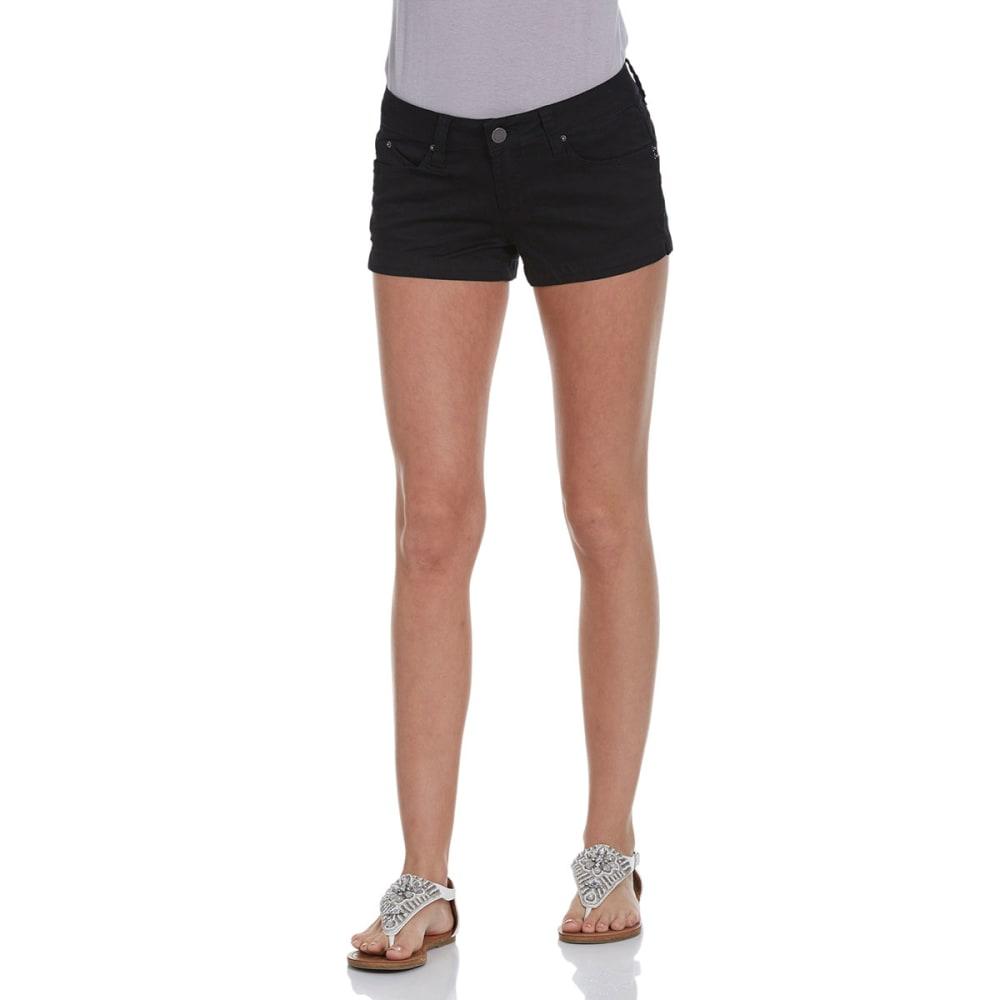YMI JEANS Juniors' 2.5 in. WannaBettaButt Twill Shorts - BLACK