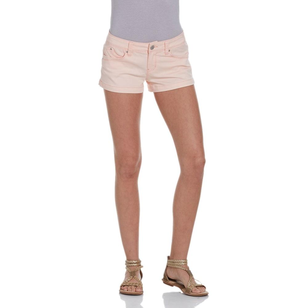 YMI JEANS Juniors' 2.5 in. WannaBettaButt Twill Shorts - PEACH