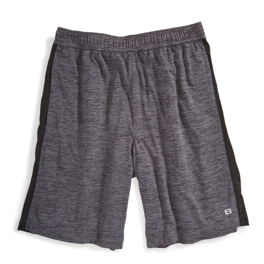 LAYER 8 Men's Heather Knit Training Shorts - GREY HEATHER-GBK