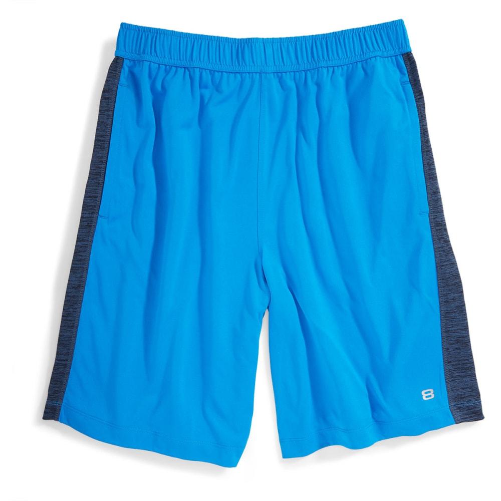 LAYER 8 Men's Heather Knit Training Shorts - BLUE HEATHER-BT+