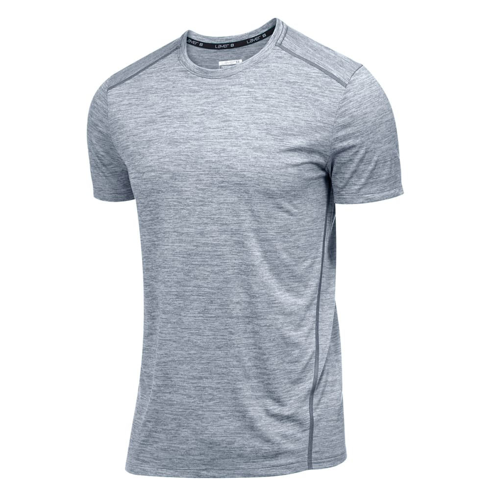 LAYER 8 Men's Chunky Sueded Heather Wicking Tee - GYM GREY HEATHER-GHE