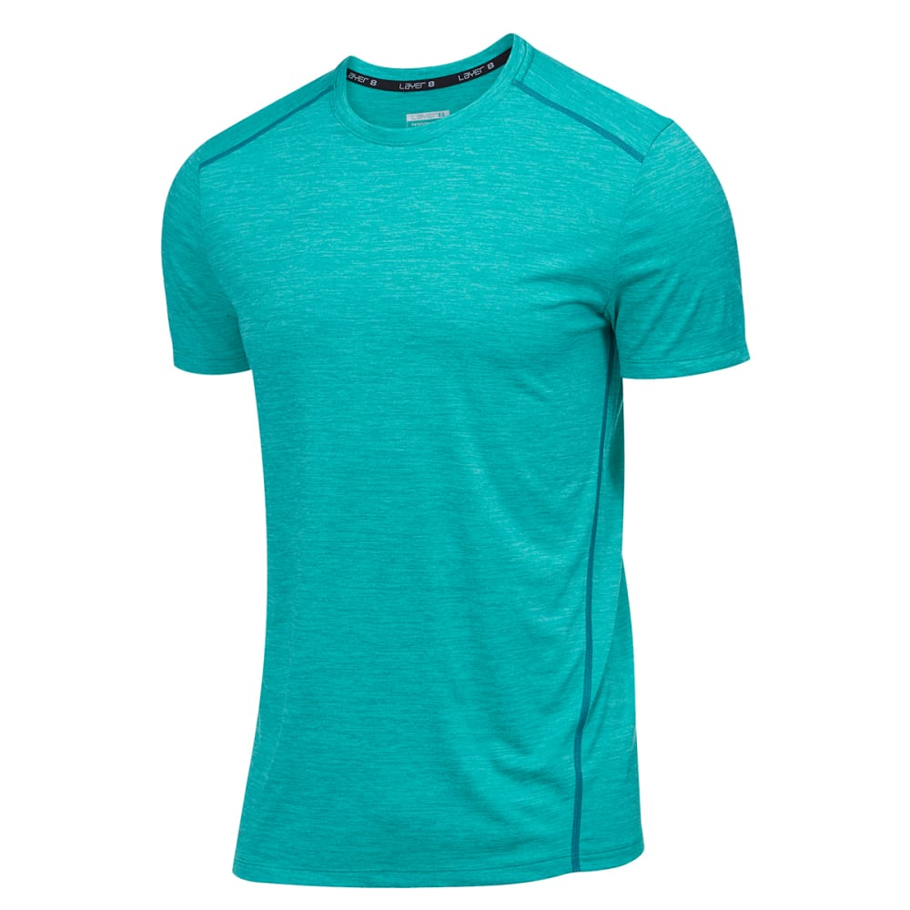 LAYER 8 Men's Chunky Sueded Heather Wicking Tee - GREEN BREEZE HTR-GQP