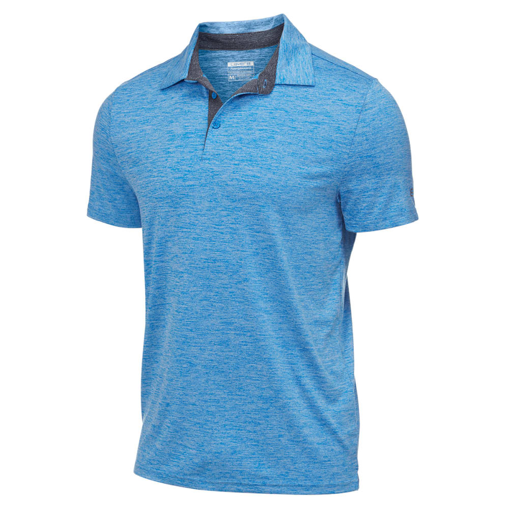 LAYER 8 Men's Stretch Chunky Heather Polo - BLUE THRILL HTHR-BT+