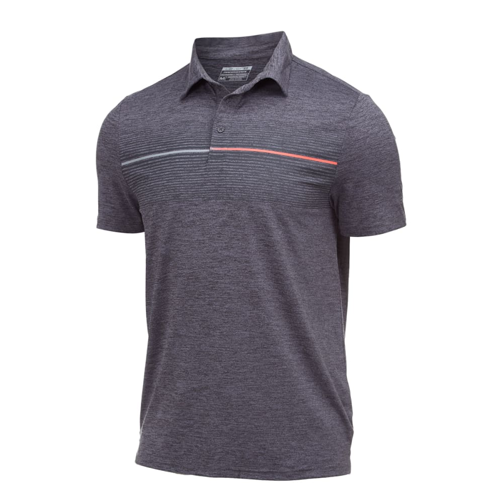 LAYER 8 Men's Screen Print Stretch Heather Polo - GREY HEATHER-GRY