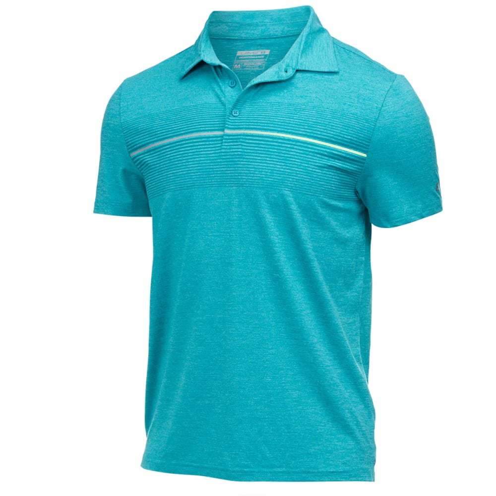 LAYER 8 Men's Screen Print Stretch Heather Polo - TEAL SKY HEATHER-TEA