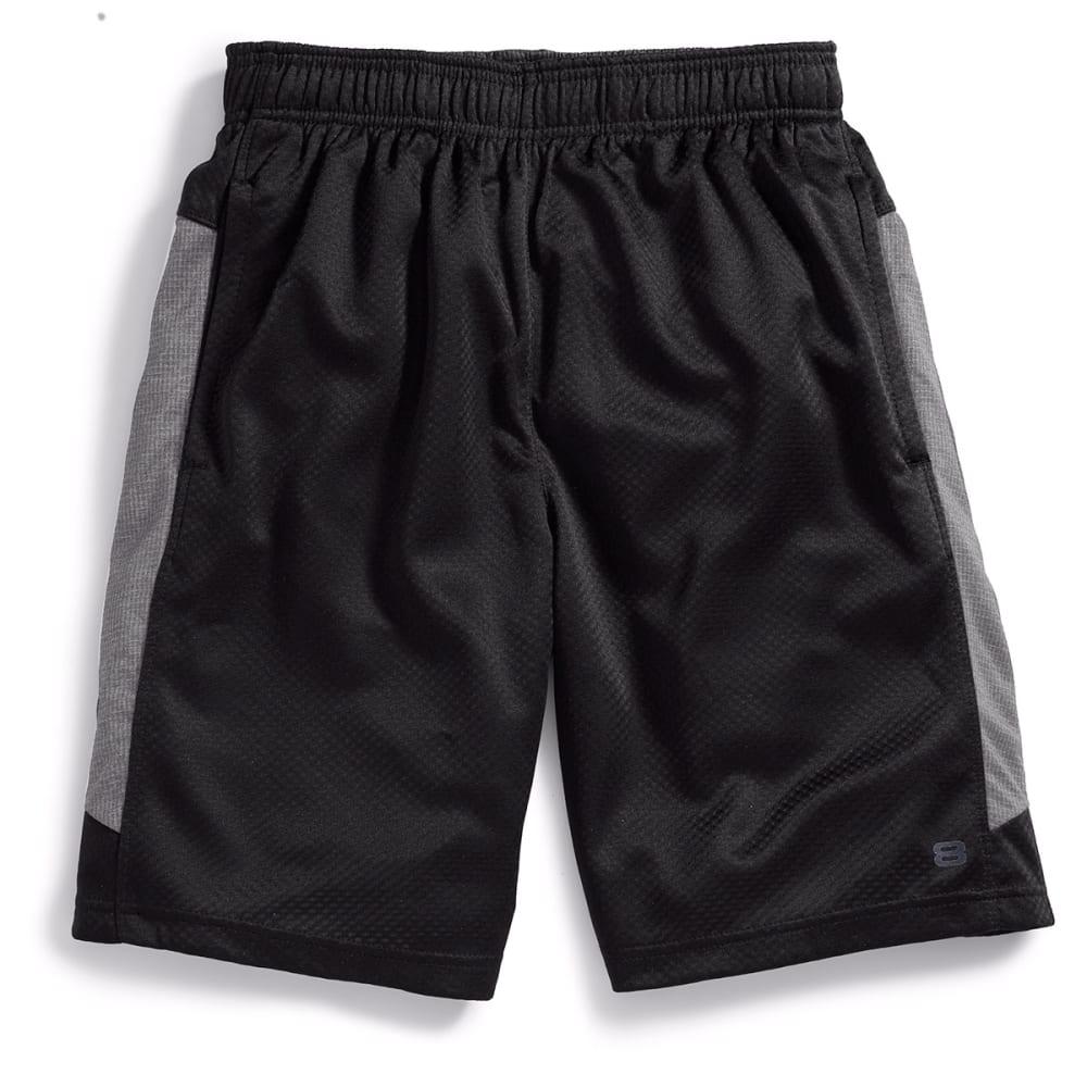LAYER 8 Men's Bubble Mesh Knit Training Shorts - BLACK/GREY HTHR-BG%
