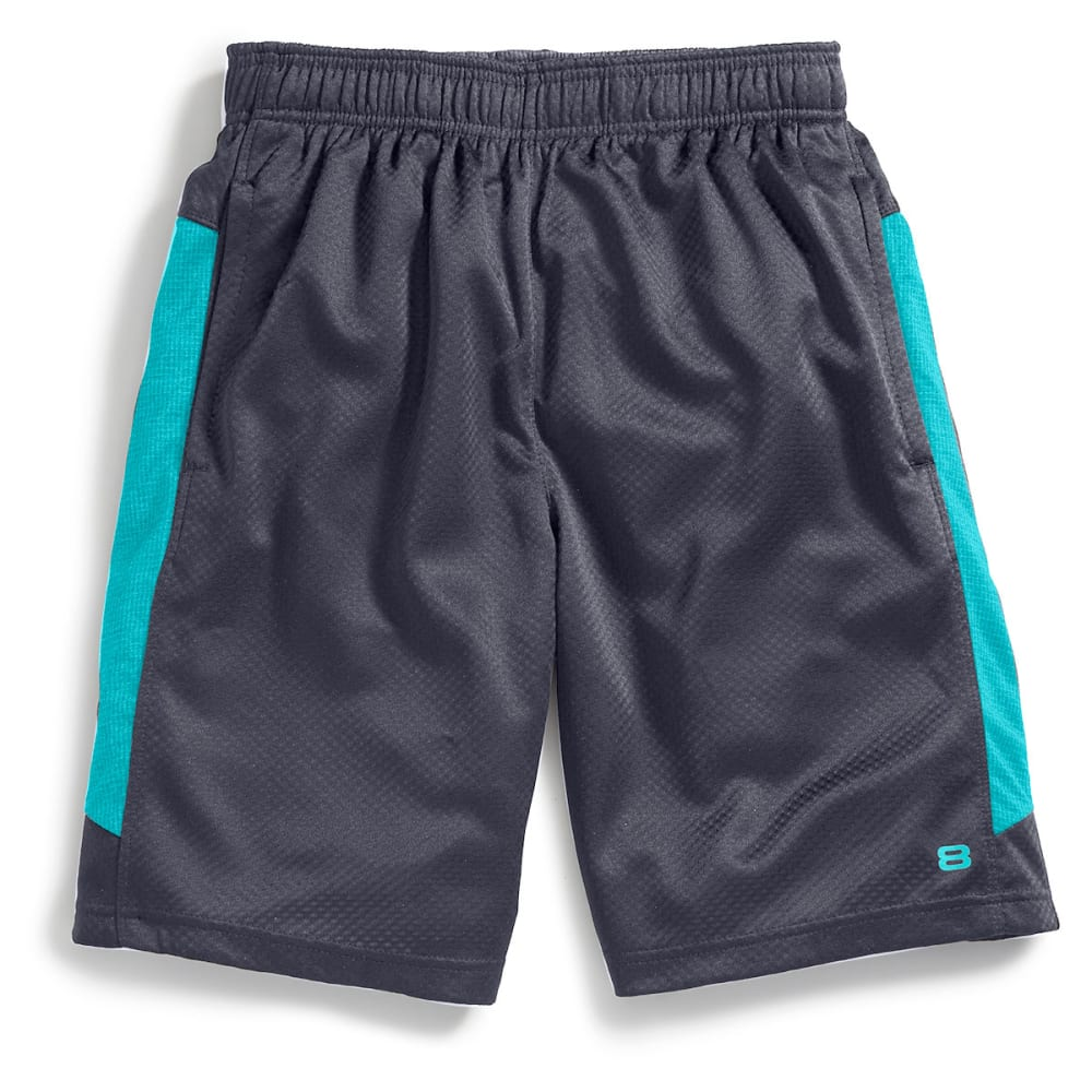 LAYER 8 Men's Bubble Mesh Knit Training Shorts - GREYSTONE/TEAL-GSE