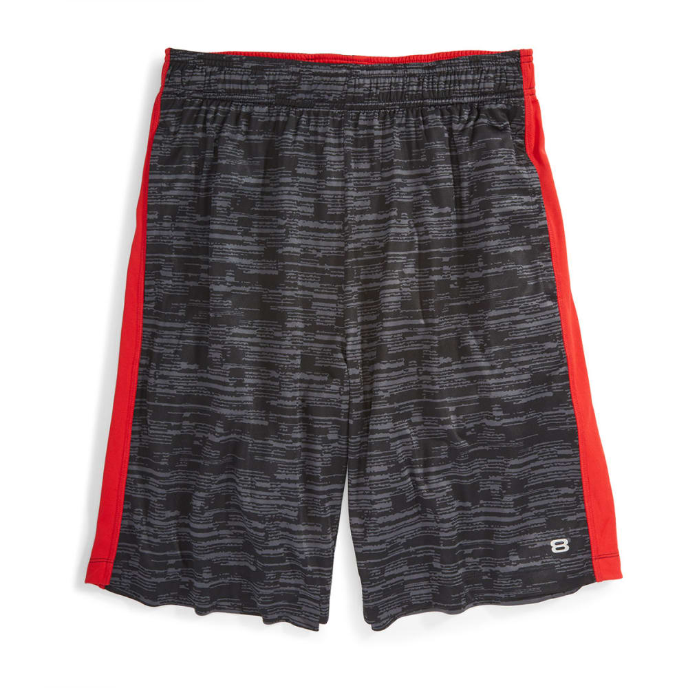 LAYER 8 Men's Printed Knit Training Shorts - BLACK PRINT/RED-RKJ