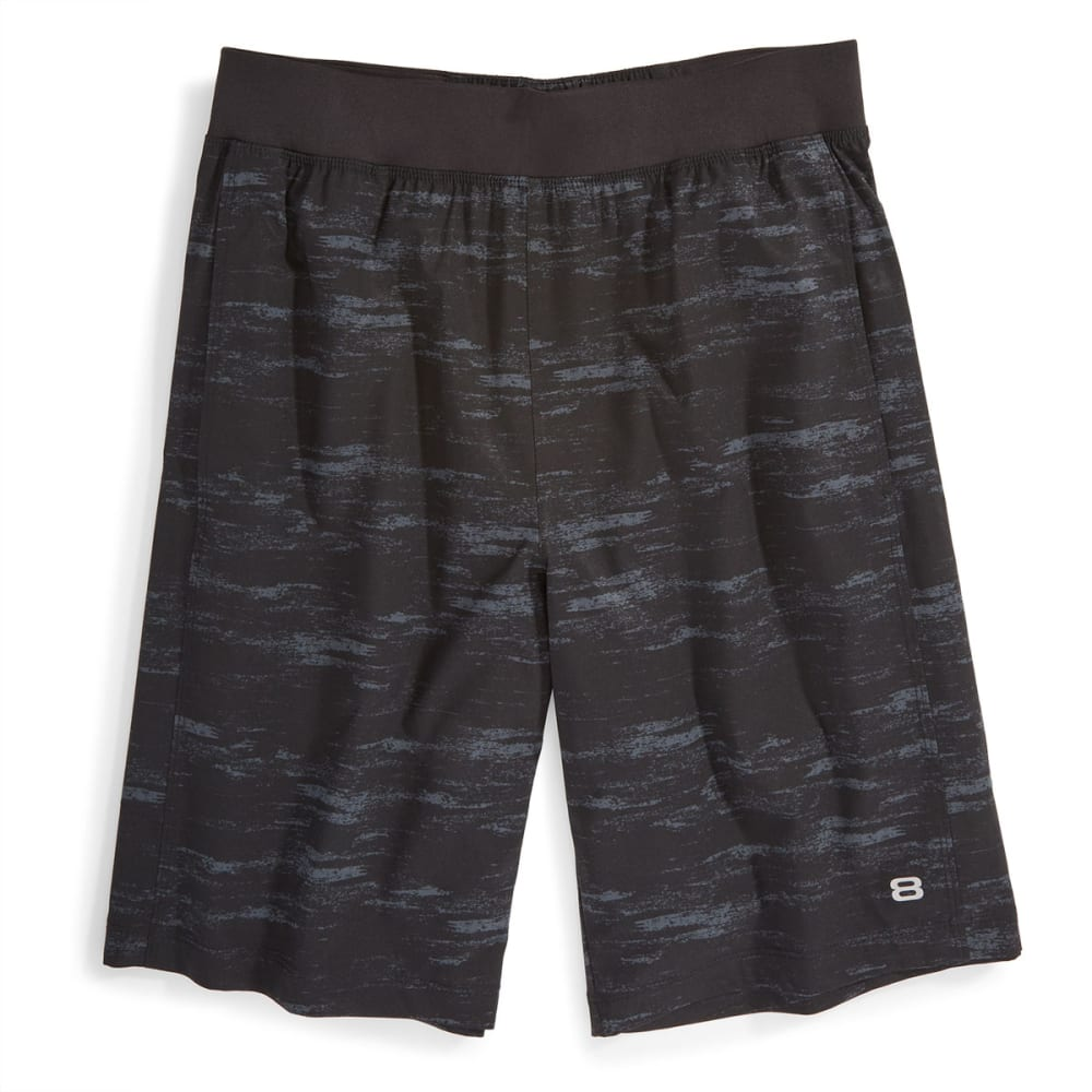 "LAYER 8 Men's Woven 9"" Stretch Shorts - DARK GREY PRINT-EB5"