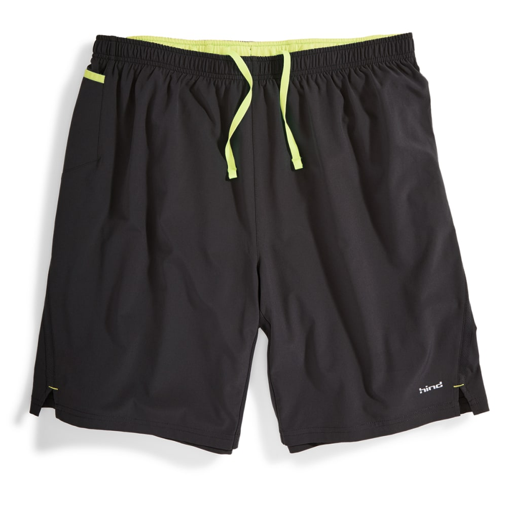 "HIND Men's 9"" 2-in-1 Woven Stretch Shorts - BLACK/SOFT LEMON-BLA"