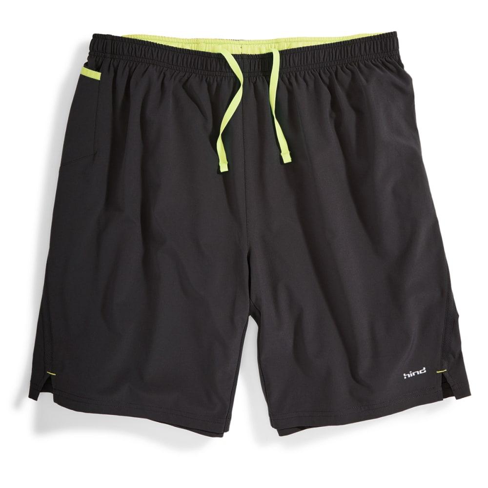 "HIND Men's 9"" 2-in-1 Woven Stretch Shorts - BLACK/SOFT LEMON-BLA"