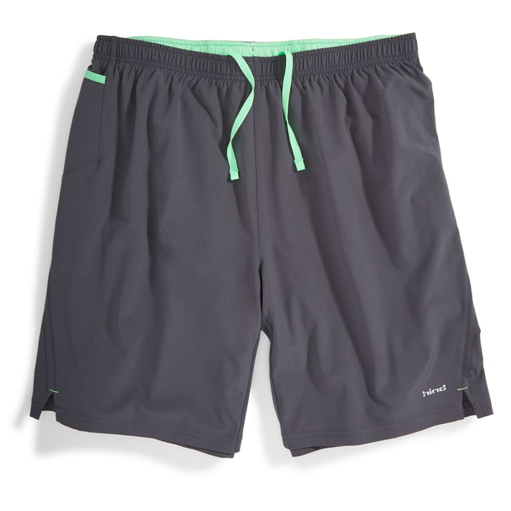 "HIND Men's 9"" 2-in-1 Woven Stretch Shorts - ANTHRACITE/MINT-AHC"