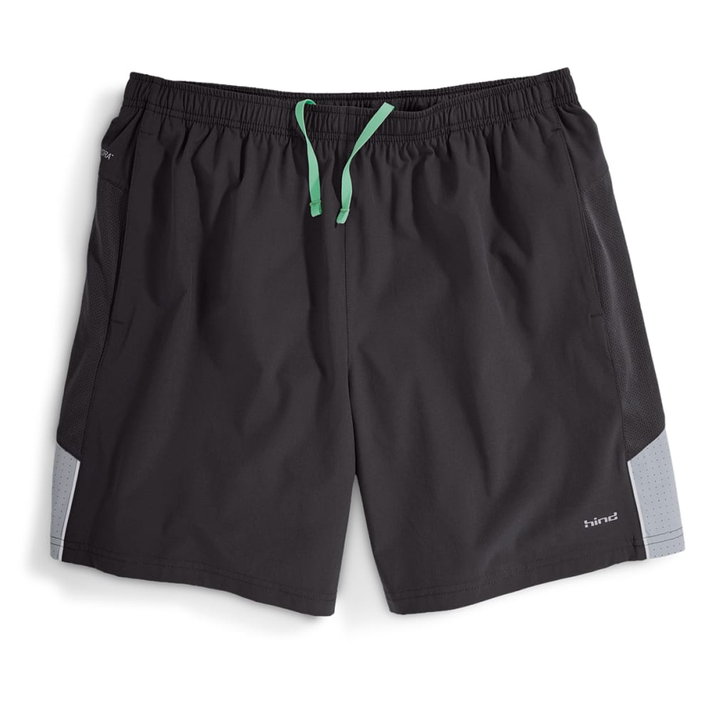 """HIND Men's Woven 7"""" Stretch Shorts With Brief - BLACK/STEALTH-BSH"""