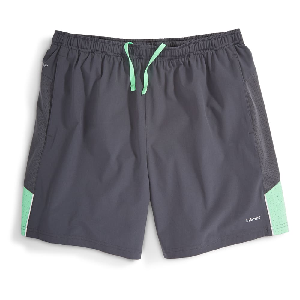"HIND Men's Woven 7"" Stretch Shorts With Brief - ANTHRACITE/MINT-AHC"