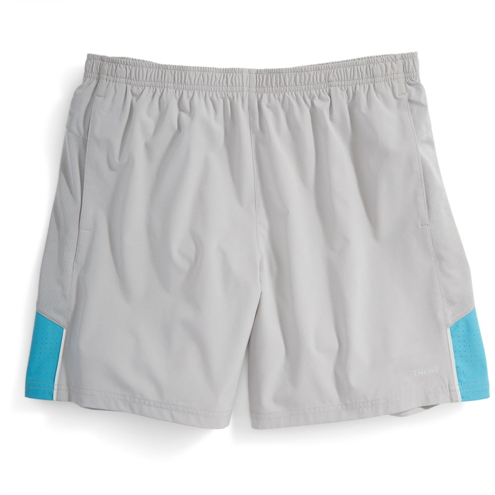 "HIND Men's Woven 7"" Stretch Shorts With Brief - SOFT SILVER/BLUE-SSF"