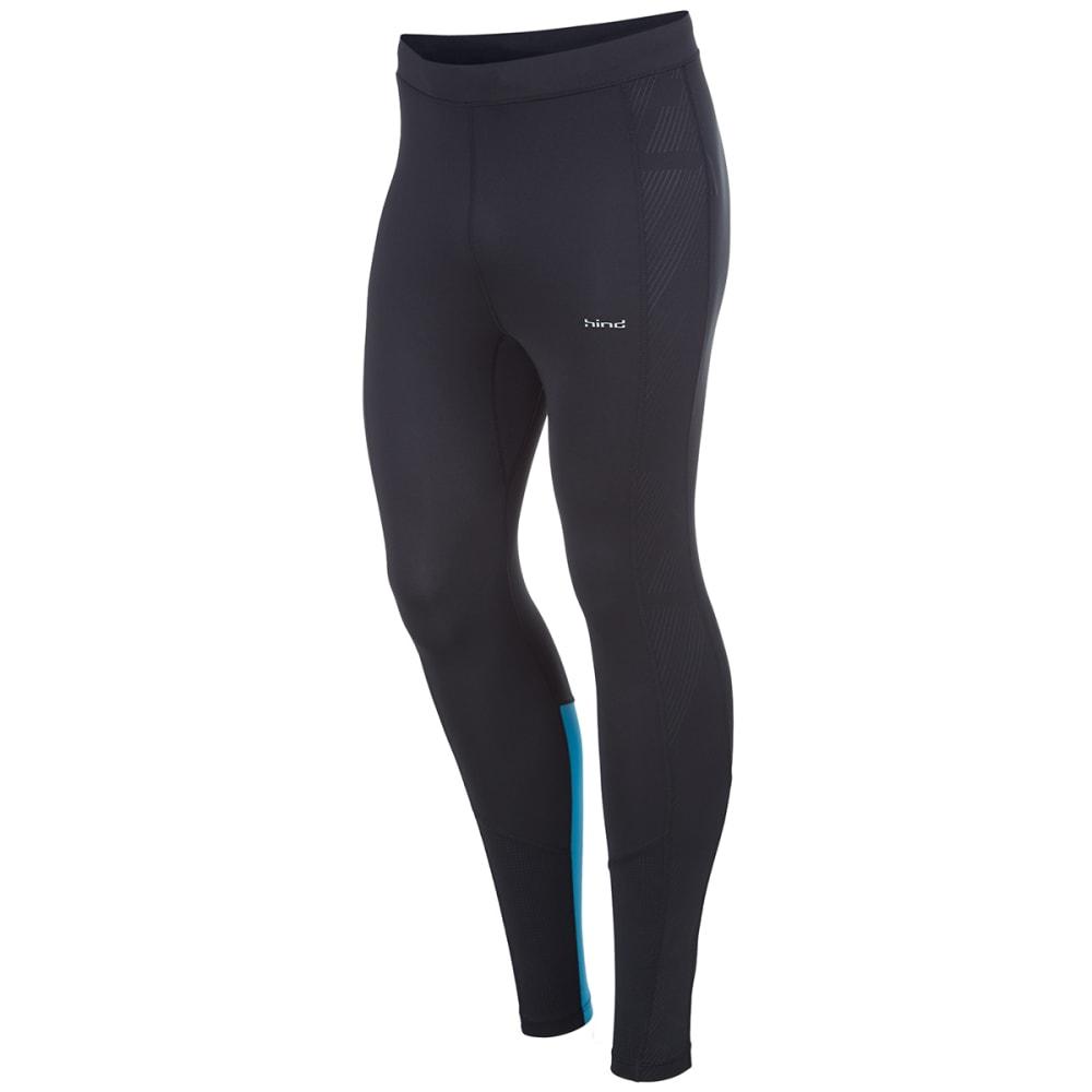 HIND Men's Stretch Running Tights - BLACK/BLUE-BKB